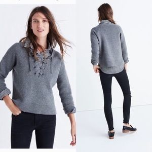 BOGO! Madewell Lace-Up Merino Wool Gray Pullover Sweater
